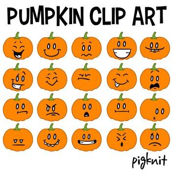 Pumpkin Clip Art, Pumpkin Face Emoticons, Halloween Clipart, Facial Expressions