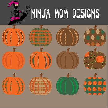 Pumpkin Clip Art in Color and Black Line