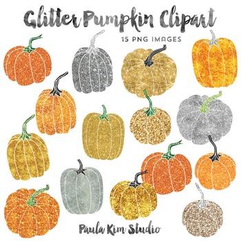 Pumpkin Clipart, Glitter