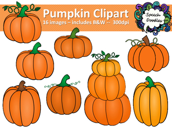 Pumpkin Clipart - Personal and Commercial Use - 16 images!
