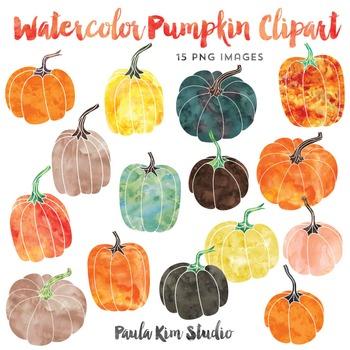 Pumpkin Clipart, Watercolor