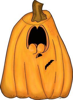 Pumpkin Clipart {Scaredy Pumpkin}