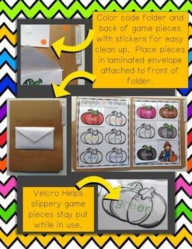 Pumpkin Color Match & Sort Identification File Folder Game