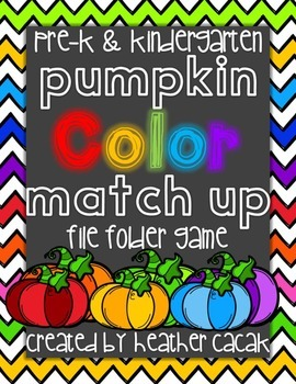 Pumpkin Color Match & Sort Identification File Folder Game