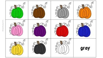 Pumpkin Color Word Matching Game