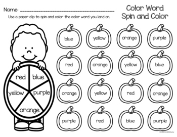 Pumpkin Color Word Spin and Color