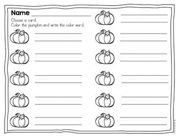 Pumpkin Color Words