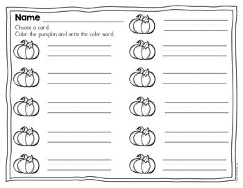 Pumpkin Color Words