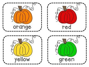 Pumpkin Color Words Write-the-Room
