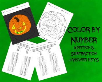 Pumpkin Color by Number-Addition & Subtraction