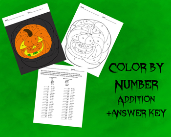 Pumpkin Color by Number-Addition