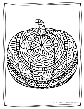 pumpkin coloring pages packet with intricate designs for