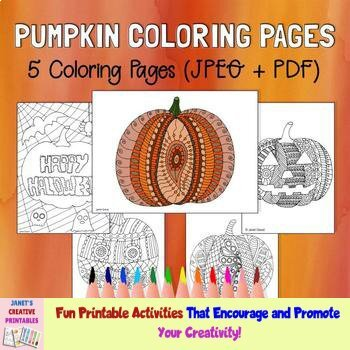 Pumpkin Coloring Pages (Set of 5)