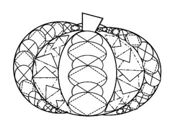 Pumpkin Coloring Sheet - Zentangle Designs