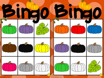 Pumpkin Colors Bingo -- French and English