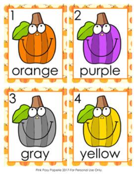 Autumn Pumpkin Colors Write the Room Activity