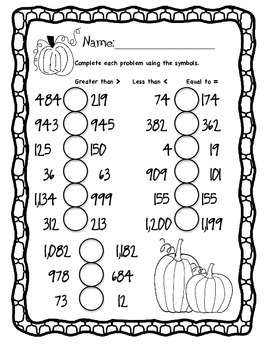 Pumpkin Comparing Numbers