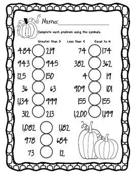 Pumpkin Comparing Numbers