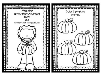 Pumpkin Concept Books for Speech Therapy-Quantities and Antonyms