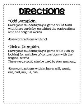 Pumpkin Contraction Card Games