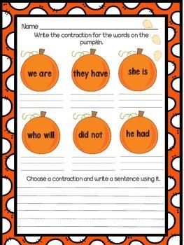 Pumpkin Contractions Homework