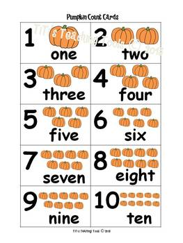 Pumpkin Count Cards