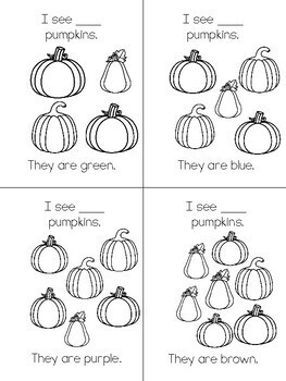 Pumpkin Count & Color Emergent Reader - Printable Student Book