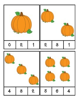 Pumpkin Count and Clip Cards #1-24