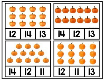 Pumpkin Counting Clip Cards 1-10