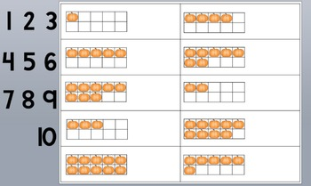 Pumpkin Counting Using Ten Frames 1-10