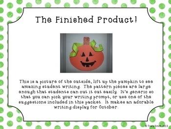 Pumpkin Craftivity - Easy Writing Activity - So cute for October! PreK - 5