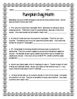 Pumpkin Day Math-Story Problems