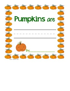 Pumpkin Descriptive Writing Page