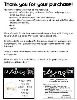 Pumpkin Dip Narrative Writing - My Pumpkin Dip Recipe