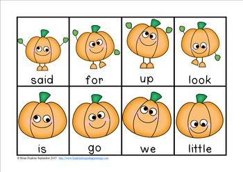 Pumpkin Sight Word Race