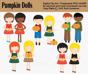 Pumpkin Dolls - fall clip art (FREEBIE -8/31/2015)