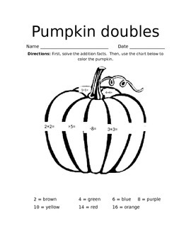 Pumpkin Doubles Math/Coloring Sheet for Stations
