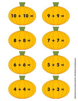 Pumpkin Doubles and Doubles +1 Memory Game
