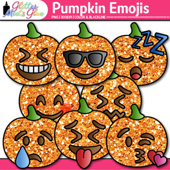 Pumpkin Emoji Clip Art {Halloween Emoticons and Smiley Faces for Brag Tags}