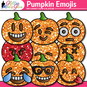 Pumpkin Emoji Clip Art | Halloween Emoticons and Smiley Faces for Class Decor