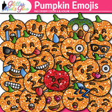 Pumpkin Emoji Clip Art {Halloween Emoticons and Smiley Fac