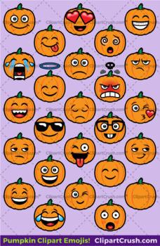 Emoji Clipart Faces / Pumpkin Fall Halloween Emojis Emotions ...