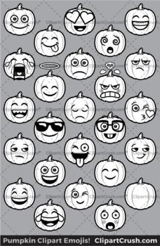Pumpkin Emoji Clipart Faces / Pumpkin Fall Halloween Emojis Emotions Expressions