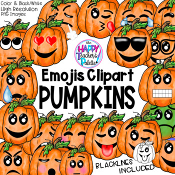 HTP Clip Art Pumpkin Emojis Watercolor {The Happy Teacher's Palette}