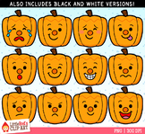 Jack-O-Lantern Emojis Faces Halloween Clip Art