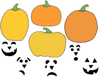 Pumpkin Emotions Clip Art Freebie:  18 PNGs