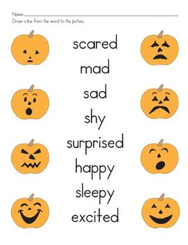 pumpkin emotions matching worksheet - Matching Worksheet