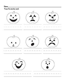 pumpkin emotions tracing wo by christine begle teachers pay teachers. Black Bedroom Furniture Sets. Home Design Ideas