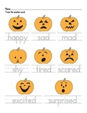 Pumpkin Emotions Tracing Worksheet