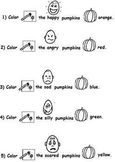 Pumpkin Emotions Worksheet